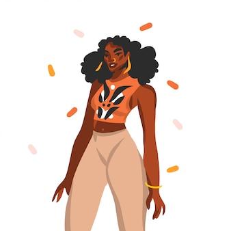 Hand gezeichnete abstrakte stock grafische illustration mit jungen glücklichen schwarzen schönheitsfrau mit piercing auf ihrem gesicht auf weißem hintergrund