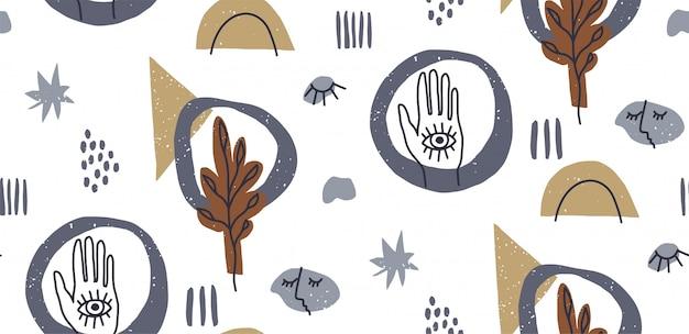 Hand gezeichnete abstrakte verschiedene formen, nahtloses muster, auge und hand, kritzeln objekte.