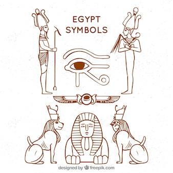Hand gezeichnete ägypten-symbole und götter sammlung
