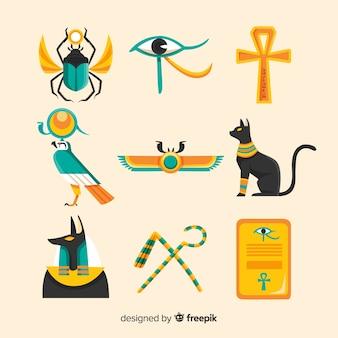Hand gezeichnete ägypten symbole und götter