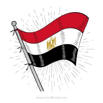 Hand gezeichnete ägyptische flaggenzusammensetzung