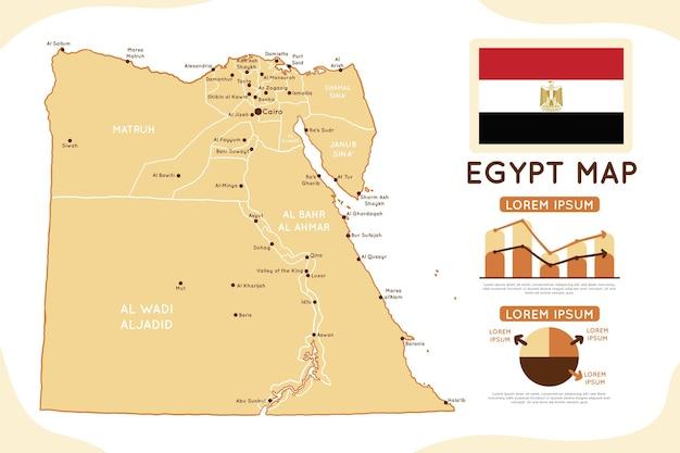 Hand gezeichnete ägyptische karte infografik