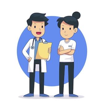 Hand gezeichnete ärzte und krankenschwestern illustration
