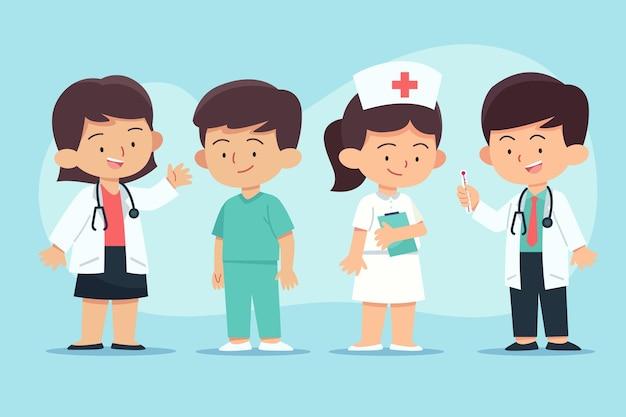 Hand gezeichnete ärzte und krankenschwestern packen
