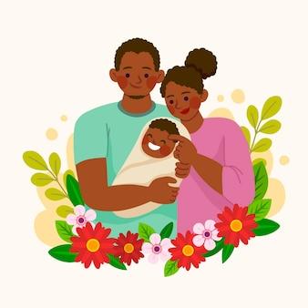 Hand gezeichnete afroamerikanische familie mit einem baby