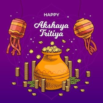 Hand gezeichnete akshaya tritiya illustration