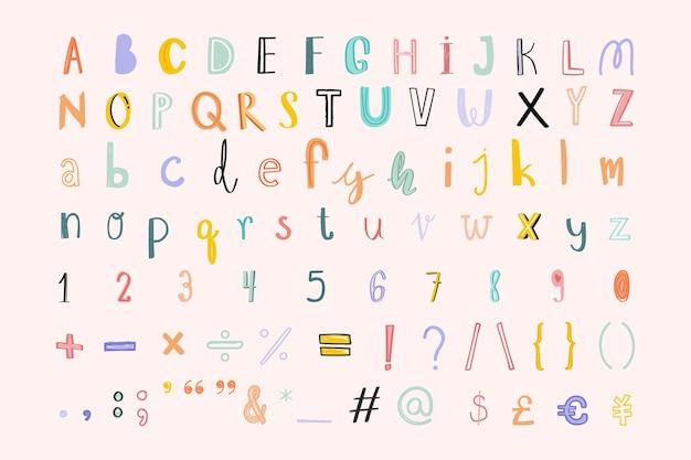 Hand gezeichnete alphabet zahlen zeichen gekritzel schriftart gesetzt