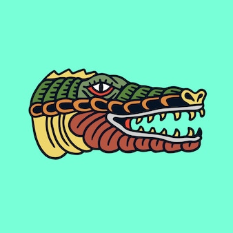 Hand gezeichnete alte schultätowierungshauptillustration des schlammigen krokodils
