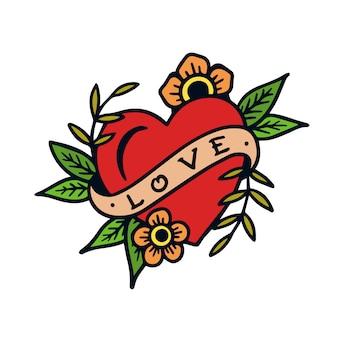 Hand gezeichnete alte schultätowierungsillustration des liebeszeichens