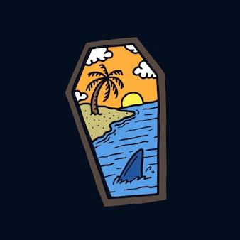 Hand gezeichnete alte schultätowierungsillustration des strandlandschaftssargs