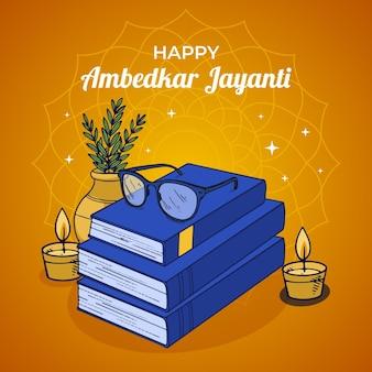 Hand gezeichnete ambedkar jayanti illustration
