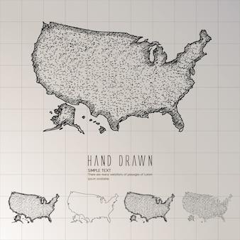 Hand gezeichnete amerika-karte.