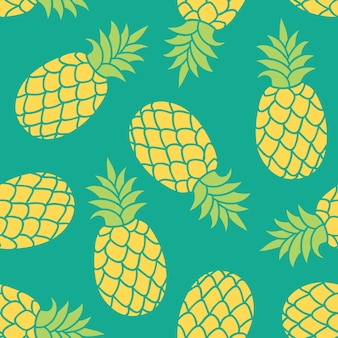 Hand gezeichnete ananas. buntes tropisches muster des sommers