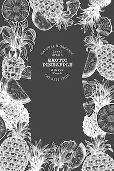 Hand gezeichnete ananas-etikettenschablone im skizzenstil