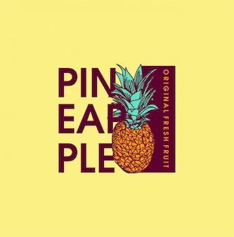 Hand gezeichnete ananasillustration