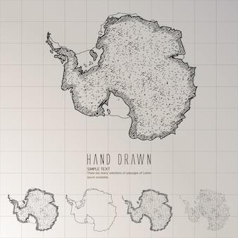 Hand gezeichnete antarktis-karte