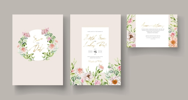 Hand gezeichnete aquarellblumeneinladungskarte