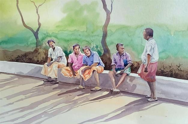 Hand gezeichnete aquarellgruppe von freunden, die spaß auf der strandillustration haben