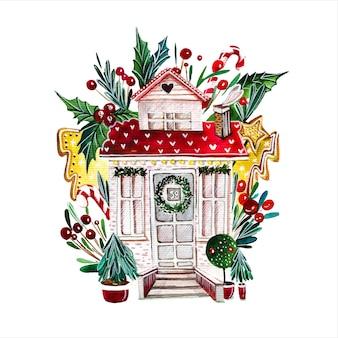 Hand gezeichnete aquarellillustration des märchenhauses fabelhafte hüttenfassade, umgeben von geschmückten neujahrsbäumen auf weißem hintergrund gebäude mit weihnachtsdekorationen aquarellmalerei