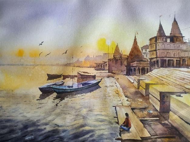 Hand gezeichnete aquarellillustration des segelboots