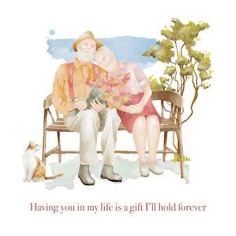 Hand gezeichnete aquarellillustration des seniorenpaares, das auf der bank sitzt