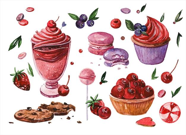 Hand gezeichnete aquarellillustrationen des süßwarenkonfekts setzen waffeln und donuts cupcakes und bonbons auf weißem hintergrund backwaren süßwarenaquarelle-gemäldesammlung