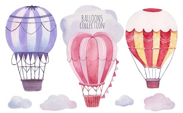 Hand gezeichnete aquarellillustrationsstreifenballons im himmel. vintage luftballons und wolken baby design, dekoration, grußkarten, poster, einladungen, werbung, textil