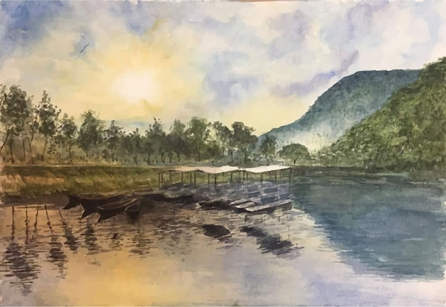 Hand gezeichnete aquarellmeer- und bergszenenillustration