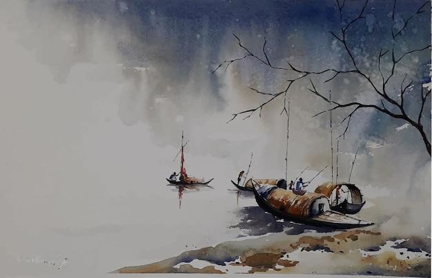 Hand gezeichnete aquarellnatur und boot auf dem meer