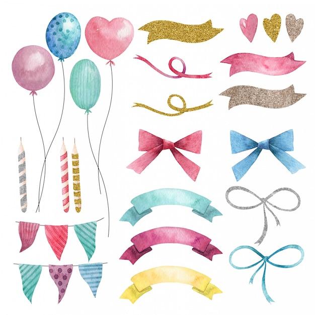 Hand gezeichnete aquarellparty-satz luftballons, fahnen und schleifen