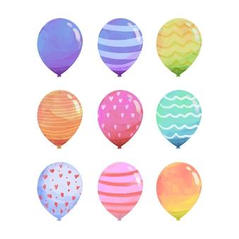 Hand gezeichnete aquarellparty-satz luftballons