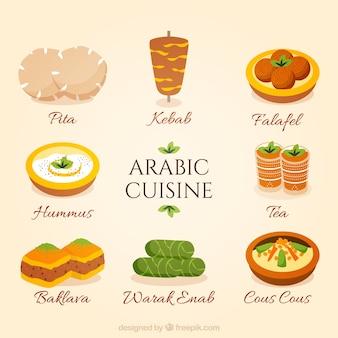 Hand gezeichnete arabische küche sammlung