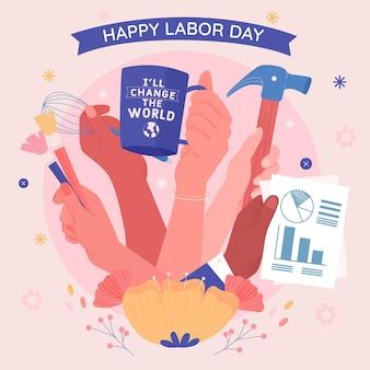 Hand gezeichnete arbeitstag usa Kostenlosen Vektoren