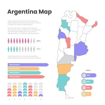 Hand gezeichnete argentinienkarte infografik