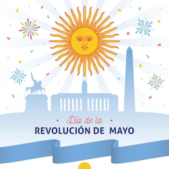 Hand gezeichnete argentinische dia de la revolucion de mayo illustration