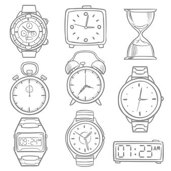 Hand gezeichnete armbanduhr, gekritzelskizzenuhren, wecker und uhrvektorsatz. illustration der zeit und der uhr, der stoppuhrskizze und der digitalen armbanduhr