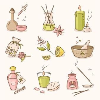 Hand gezeichnete aromatherapie-element-sammlung