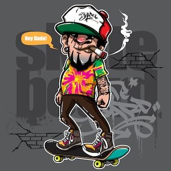 Hand gezeichnete art des hippies, der skateboard fährt
