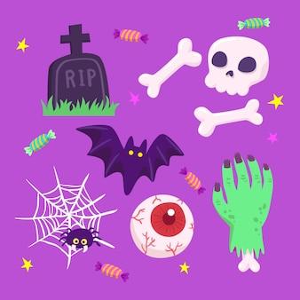 Hand gezeichnete art halloween-element-sammlung
