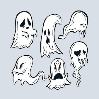 Hand gezeichnete art halloween-geisterset
