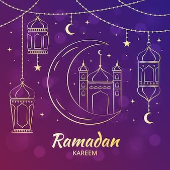 Hand gezeichnete art ramadan kareem