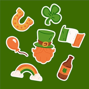 Hand gezeichnete art st. patrick's day element set