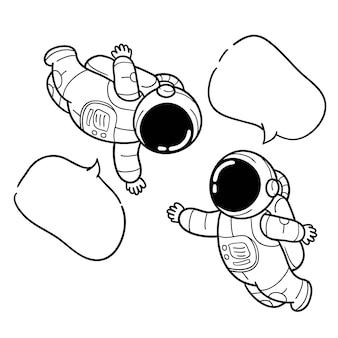 Hand gezeichnete astronautenmitteilung