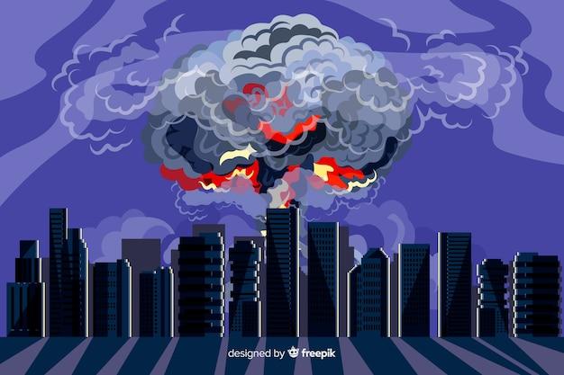 Hand gezeichnete atomexplosion in einer stadt