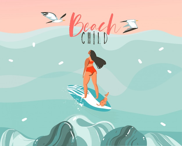 Hand gezeichnete auf lager abstrakte illustration mit einem surfermädchen, das mit einem hund und möwen auf ozean sonnenuntergangwellenlandschaftsszenenhintergrund surft