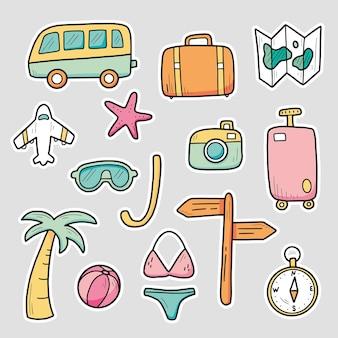 Hand gezeichnete aufkleber setzen reise-sommerferienelemente