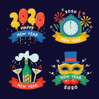 Hand gezeichnete aufklebersammlung des neuen jahres 2020