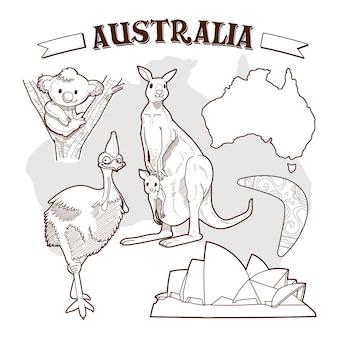 Hand gezeichnete australien-tageskritzeleien