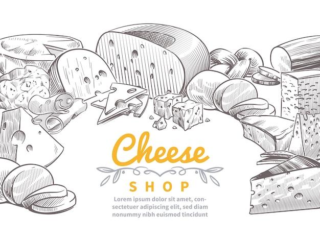 Hand gezeichnete auswahl an käse