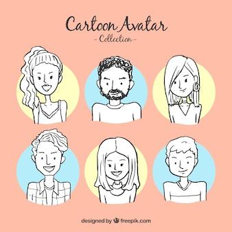 Hand gezeichnete avatare sammlung